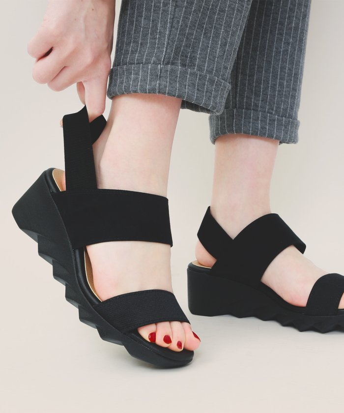 (Fashion Letter/ファッションレター)コンフォートサンダル ヒール レディース 立ち仕事靴 オフィス 室内履き コンフォートシューズ 日本製 FIRSTCONTACTファーストコンタクト ナースシュ/レディース ブラック
