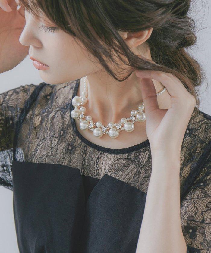(niana/ニアナ)パーティー アクセサリー ネックレス パール チョーカー シンプル ベージュ ゴールド イミテーションパール おしゃれ 大きめ ドレス ワンピース 結婚式/レディース ベージュ