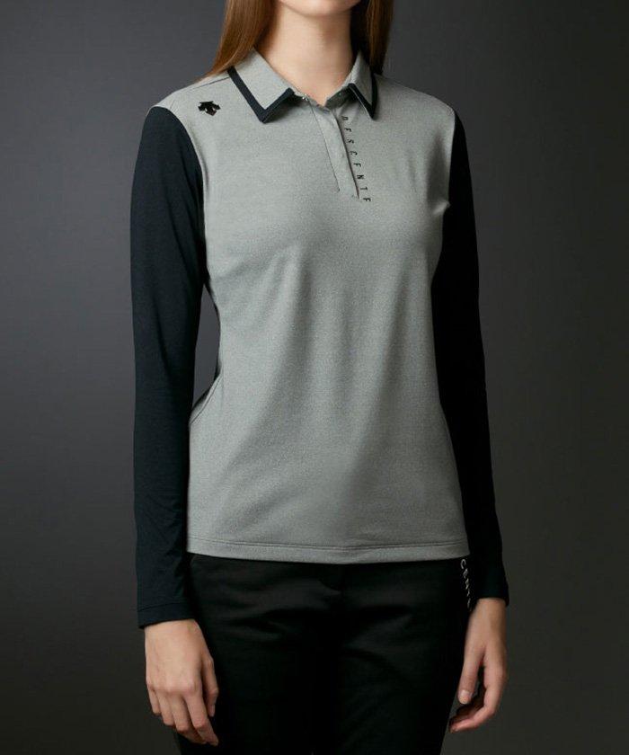 (DESCENTE GOLF/デサントゴルフ)プライマフレックス天竺裏起毛切り替えシャツ/レディース グレー