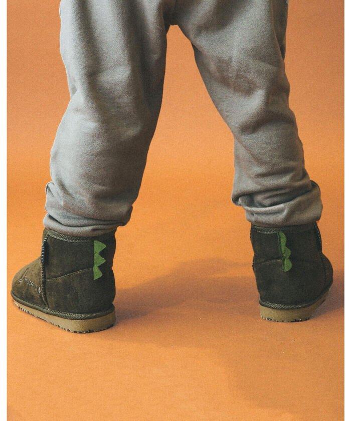 (SLAP SLIP/スラップスリップ)くま 恐竜 ムートンブーツ (14~18cm)/キッズ グリーン