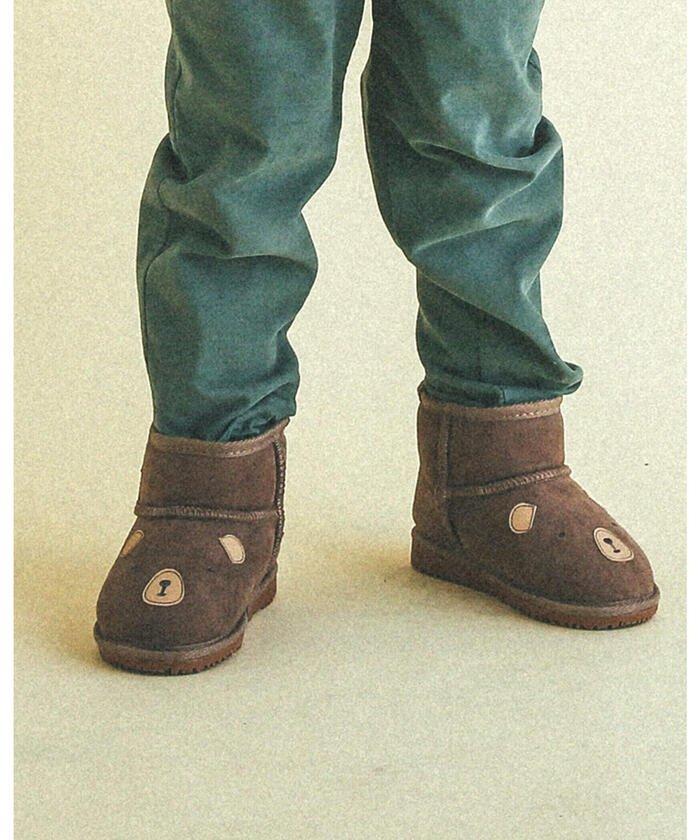(SLAP SLIP/スラップスリップ)くま 恐竜 ムートンブーツ (14~18cm)/キッズ ブラウン